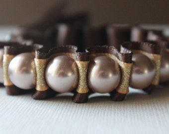 Mocha Pearl with Gold Shimmer and Brown Ribbon Bracelet