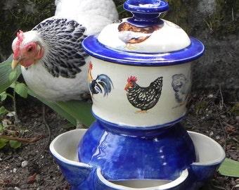 Ceramic Chicken Feeder (size  medium) with Whimsy Chicken Decals