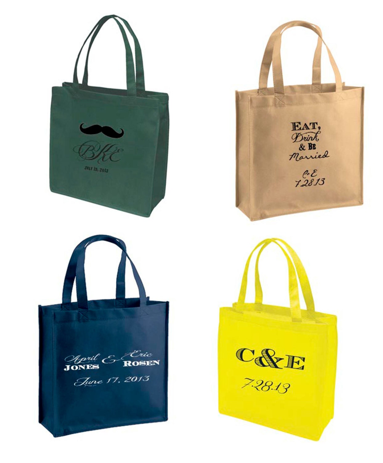 Recycled and Recyclable Custom Tote Bags Wedding Favors that