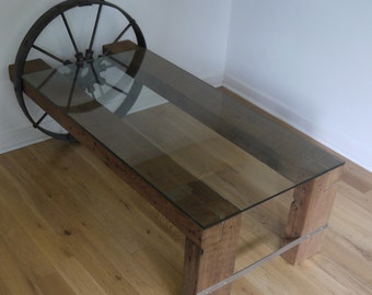 Reclaimed Wood and Glass Coffee Table.  Metal Coffee Table. Barn Wood Side Table. Antique Coffee Table.