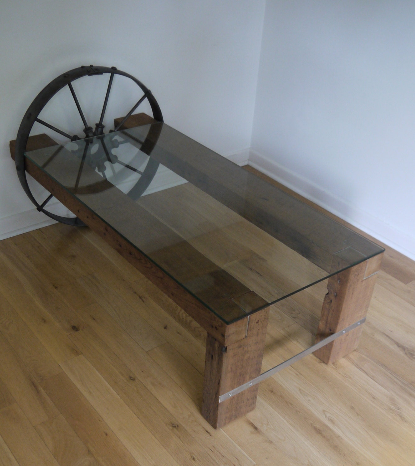 Reclaimed wood and glass coffee table metal coffee table for Wood coffee table with glass insert