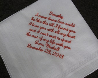 Wedding Handkerchief Groom from Bride