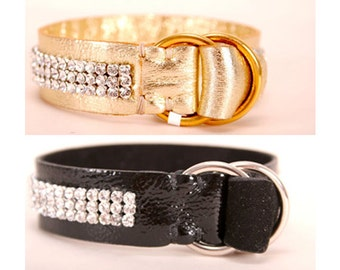 Leather CRYSTAL bracelet // gold, black - with Swaroski crystals (Italian calf leather) - FREE SHIPPING, unique piece