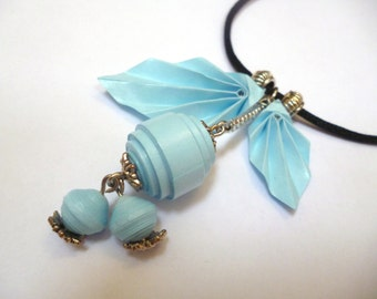 Powder Blue Berries and Leaves Paper Charms Necklace