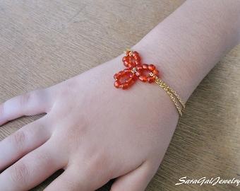 Flower girl Bracelet, Red bracelet, Blue bracelet , Flower Bracelet, Baby girl Bracelet, Gold filled chain, Wedding jewelry