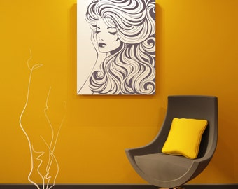 "Beautiful Woman With Wavy Hair Removable Wall Art Decor Decal Vinyl Sticker Mural "" Tamra"""