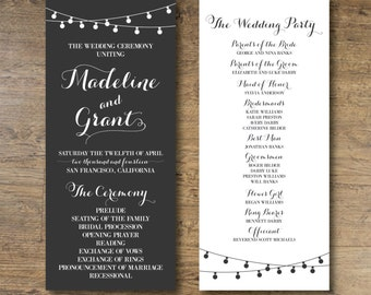 Printable Wedding Program, String Lights Wedding Program