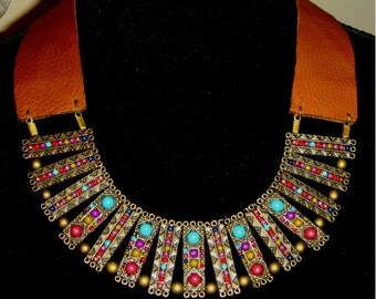 Leather  oriental necklace SOLD