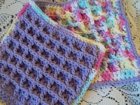 Set of 2 Cotton Crochet Waffle Stitch Washcloths Purple and Pastel ...