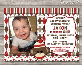 PRINTABLE Sock Monkey Birthday Invite - Personalized Digital Photo Invitation 4x6 or 5x7 jpg or pdf