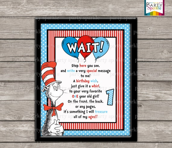 Guest Book Cover Printable : Instant download printable cat in the hat birthday year