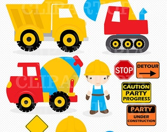 "Construction Digital Clipart : ""CONSTRUCTION CLIPART"", Trucks ClipArt, Dump Truck clip art, Personal & Commercial Use, instant download"