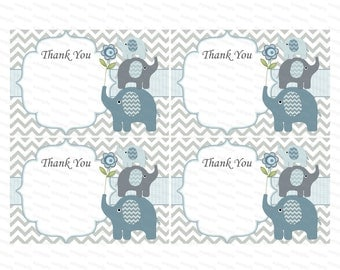 Thank you card boy baby shower thank you notes baby thank you tag insert thank you elephant baby shower (49e) - instant download