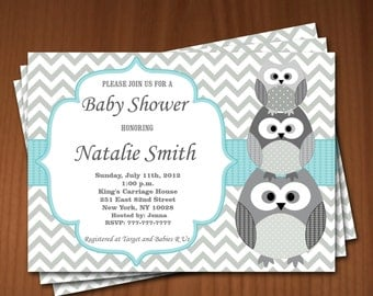 Owl Baby Shower Invitation Boy Baby Shower invitations Printable Baby Shower Invites -FREE Thank You Card - editable pdf Download (541) blue