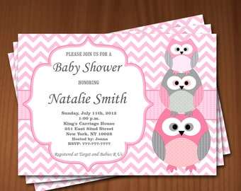 Owl Baby Shower Invitation Girl Baby Shower invitations Printable Baby Shower Invites -FREE Thank You Card - editable pdf Download 544 rose