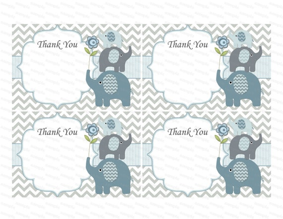 Thank You Card Boy Baby Shower Thank You Notes Baby Thank You Tag Insert Thank  You Elephant Baby Shower (49e)   Instant Download