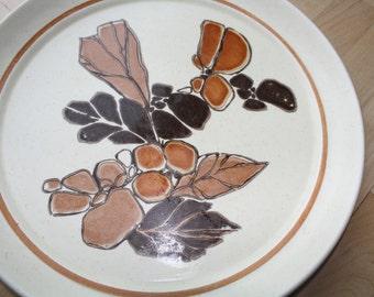 Vintage Homer Laughlin Dinner PLATE Brown Leaves Floral Stoneware USA