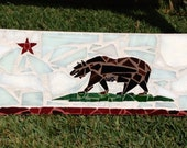 1 Custom California Flag Stained Glass Mosaic Recycled Snowboard  Art