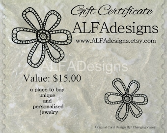 15 Dollars Gift Certificate to ALFAdesigns Jewelry Shop, Jewelry Gift Under 15 dollars