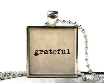 Grateful resin necklace or keychain word jewelry