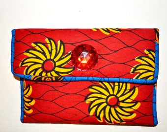 Gift Under 50- Bridesmaid Clutch- Women Christmas Gift- Red Holiday Purse - African Ankara Fabric Clutch -Blue And Red African Fabric Purse
