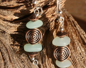 Frosted Sea Glass and Copper Earrings