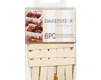 David Tutera Casual Elegance Mini Wood Baskets, 6