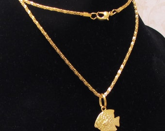 Fish Necklace, Gold tone metal