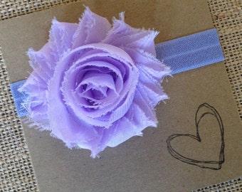 LILAC Shabby Flower Headband, Flower Headband, Baby Headband, Newborn Headband, Lilac, Purple, Purple Flower