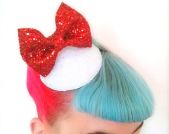 10% off with the code BDAY10  Rockabilly Burlesque Glitter Bow Fascinator