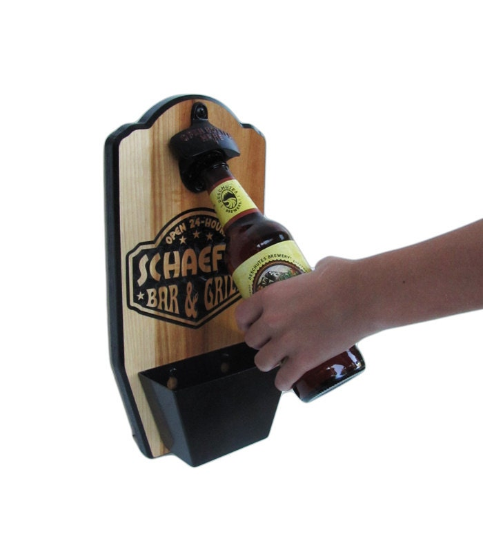 Wall Mount Bottle Opener Personalized Bar And Grill Edition