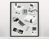 Classic Nintendo Video Game Poster - Video Game Poster - Nintendo Poster - Gamer Poster - Duck Hunt - Super Mario Brothers - Donkey Kong