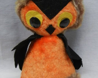 Vintage 50s, 60s stuffed plush owl, Halloween orange