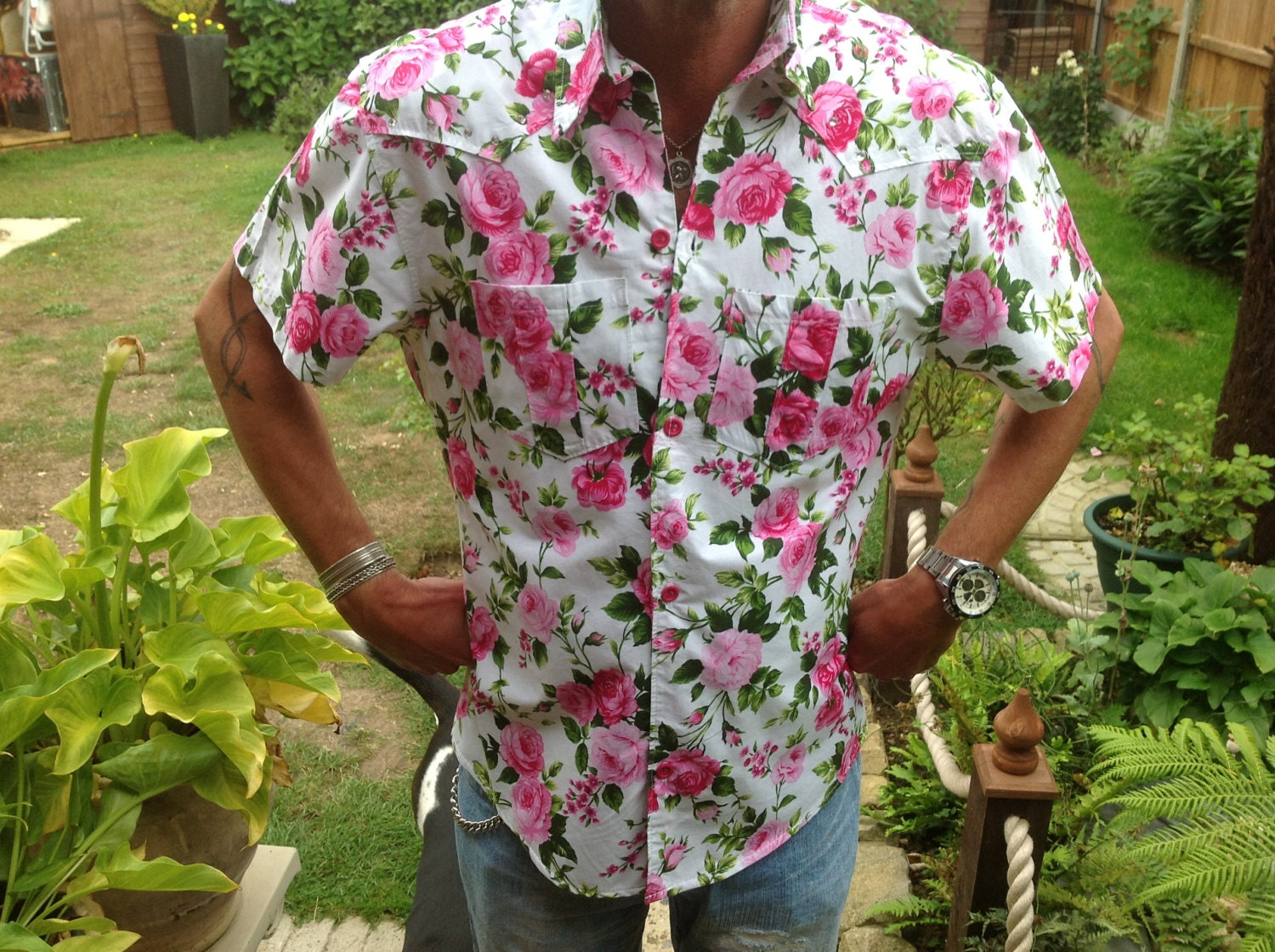 Mens unique pink Rose print short sleeved shirt by Bespokeshirts