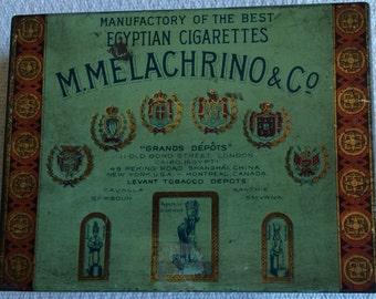 M. Melachrino & Co. Egyptian Cigarette Tin . . . Vintage 1930s . . . Advertising . . . Collectible