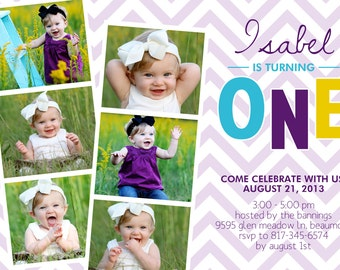 First Birthday Party Invitation - photo, digital, purple or pink photo strip, cute