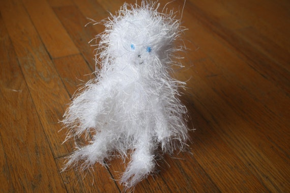 Ready to Ship New Hand Knit Snow White Yeti Plush Doll with Ice Blue Eyes