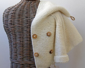 Hand knitted Handmade Baby Wool Sweater Coat Cardigan Hand knit Sweater Size 6-12 months