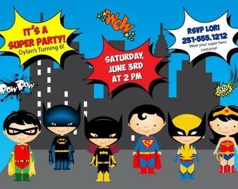Super Hero Invitation - Kids Super Hero Birthday Invitation