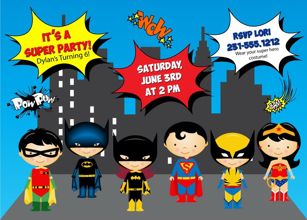 Superhero Birthday Invitation Templates – diabetesmang.info