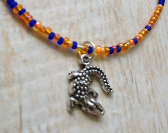 Orange and Blue Alligator Necklace Glass Seed Beads Team Spirit School Colors Necklace or Anklet Game Day Accessory