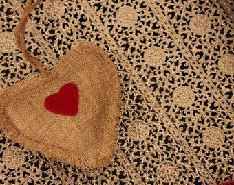 MINI BURLAP HEART Gift Tag Hanging Christmas Ornament Holiday Love Hearts Wedding Valentine's Day Rustic Pillow Bunting Decoration Vintage