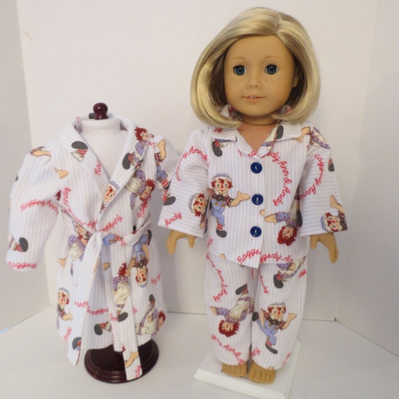 American Girl Doll Flannel Pajamas and Bathrobe in Raggedy Ann and Andy Print