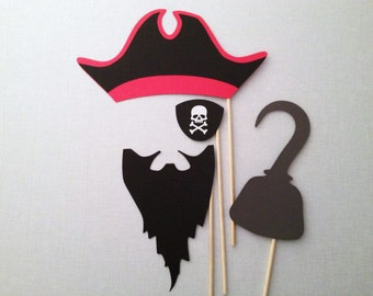 4-Piece Pirate Photo Booth Props - Pirate Birthday Party - Pirate Photo Booth Props - Halloween Props