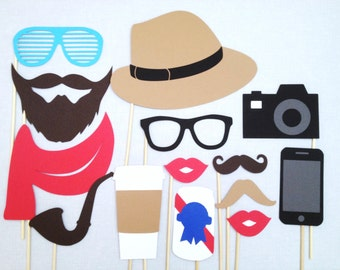 Hipster Photo Booth Props - 90's Party - Hipster Props