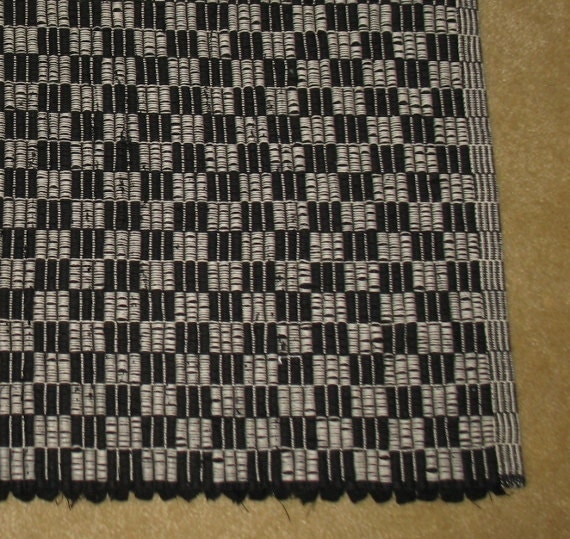 Deco Inspired Black And White Warp Rep Cotton Rag Rug