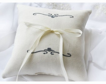 Ring bearer pillow , wedding pillow , wedding ring pillow,  SIMPLE EMBROIDERY , embroidered ring bearer pillow (R43)