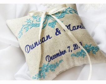 Personalized Ring bearer pillow , Linen personalized ring pillow , wedding ring pillow, Custom embroidered ring pillow (R10)