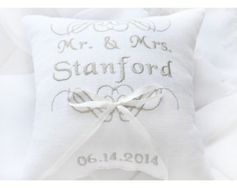 MR & MRS ring pillow, Ring bearer pillow ,wedding pillow , wedding ring pillow, Personalized wedding pillow , embroidered pillow (BRP10)