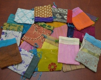 12 Pieces Handmade DRAWSTRING JEWELRY Gift POUCHES 3 x 4 Bags 8008